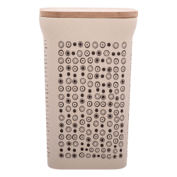 Square canister 11.6x11.6x18.5cm with bamboo lid - BASIC Bamboo Fiber
