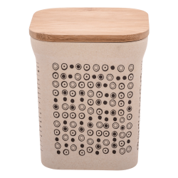 Square canister 11.6x11.6x14cm with lid nature/dots - BASIC Bamboo Fiber