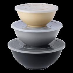 Mixing bowls set with transparent lids 6-pcs - BASIC Bamboo Fiber