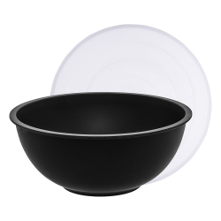 Mixing bowl 30 cm with transparent lid, black - BASIC Bamboo Fiber
