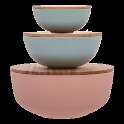 Set 6pcs, Salad bowls with bamboo lids - FLOW Bamboo Fiber