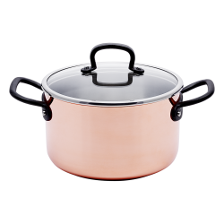 Saucepan 20 x 12 cm, 3.7 l, with glass lid - Sirius GAYA Copper Triply Inox mit Profigriffen