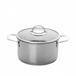 Cooking pot with side handles Ø 22 cm wiht glass lid - Orion Inox with CNS-Profi handles