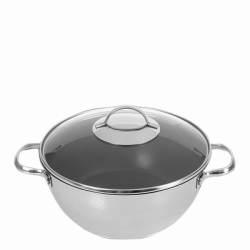 Wok ø26cm with glass lid - Orion Inox with CNS Profi handles