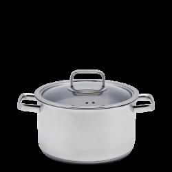 Cooking Pot with Glass Lid 20 x 12 cm, 3.7 lt - Sirius TITAN 3ply Lunasol Pans mirror