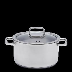 Cooking Pot with Glass Lid 24 x 13.5 cm - Sirius TITAN 3ply Lunasol Pans mirror