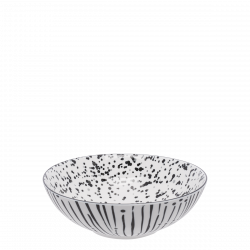 Cereal Bowl 17.8 cm, Inside speckled - BASIC white Lines black