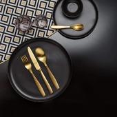 Bring luxury atmosphere to your dining room with golden Gaya cutleryset - www.gastrofactory.eu