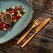 Not only food can be colorful, but also the table. For example, with our colored cutlery set Gaya Satin Copper. . #cutlery #gaya #solaswitzerland #solaswiss #kitchenknife #fork #kitchenware #kitchendesign #kitchendesignideas